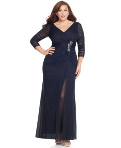 Women's Plus-Size Three-Quarter Sleeve Ruched Gown