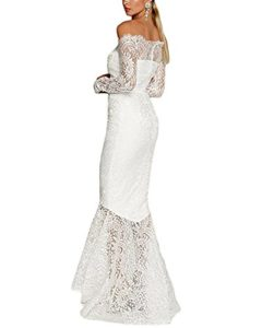 Review Women's Floral Lace Long Sleeve Off Shoulder Wedding Mermaid Dress