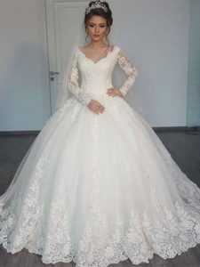 Best Women's Ball Gown Princess Appliques Tulle Bridal Gowns Wedding Dress with Long Sleeves