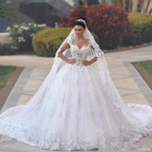 Review Women's Lace Short Sleeves Ball Gowns Bridal Dress Petticoat Princess Wedding Dress