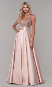 Best Sequined Prom Dresses Gold Long A-Line V-Neck Satin Formal Evening Gowns