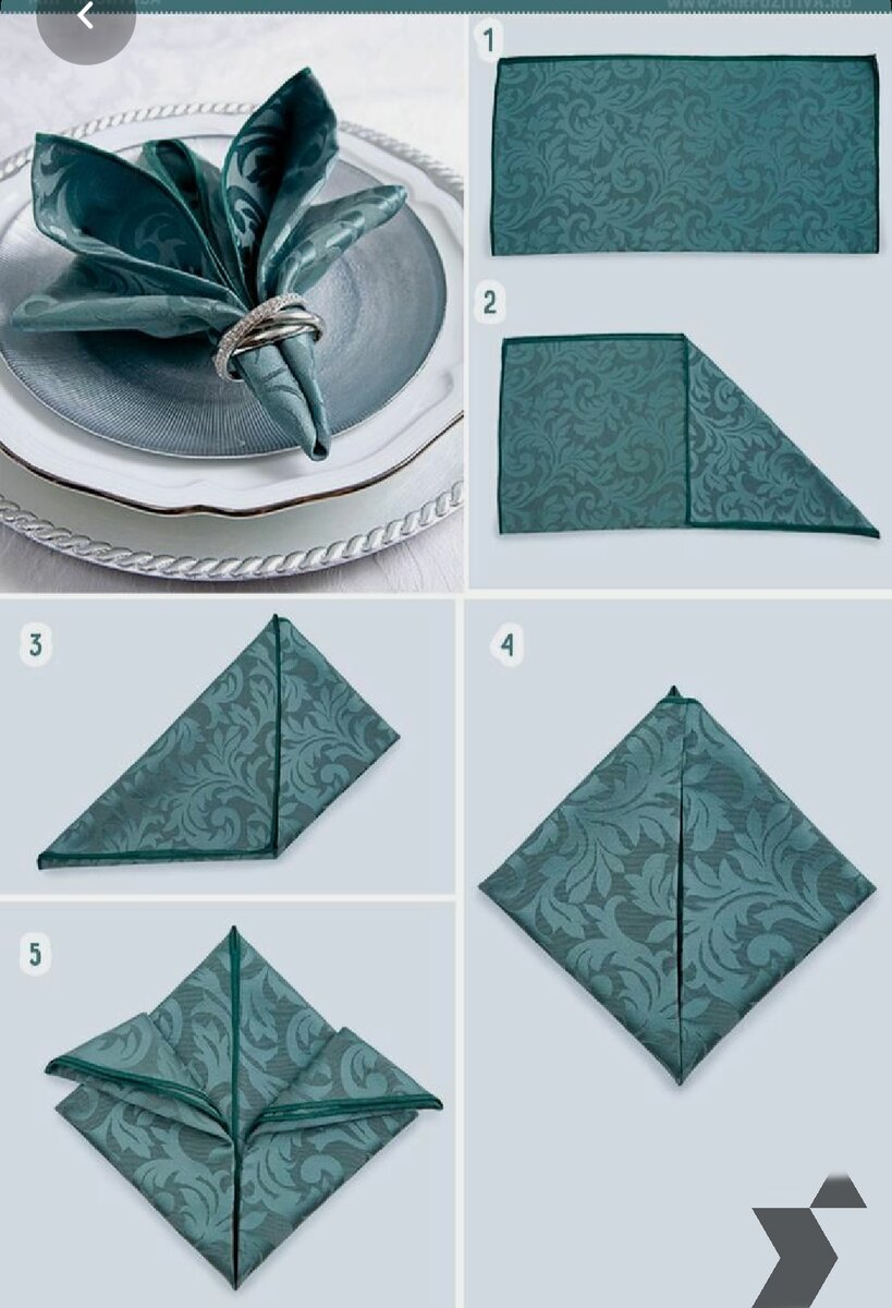 Step by step to fold a beautiful napkin