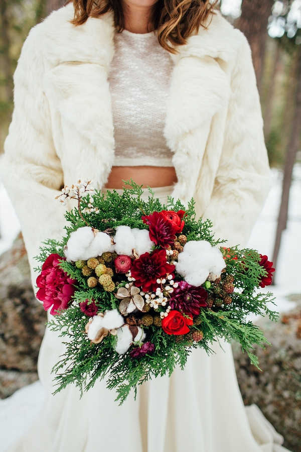 What are the flowers in a winter wedding bouquet?