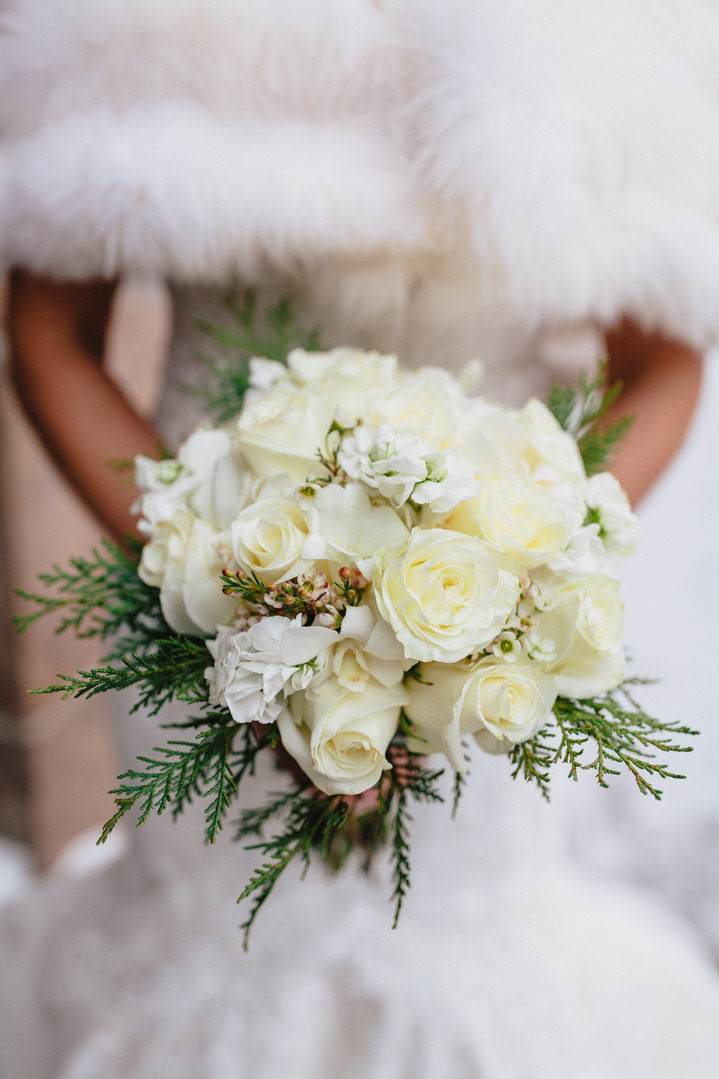 Winter flowers in a wedding bouquet