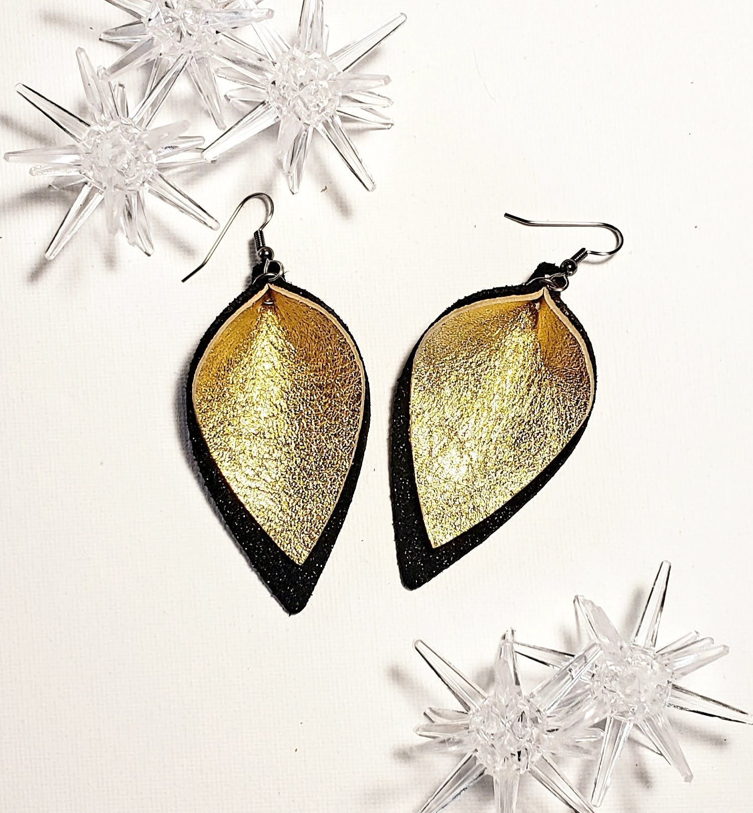 Leather earrings for a gift