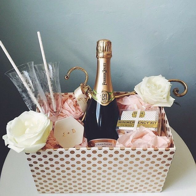 Basket with champagne and sweets
